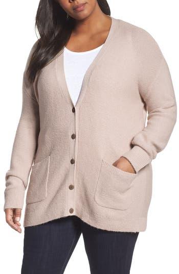 Caslon® Long V-Neck Wool Blend Cardigan (Plus Size)