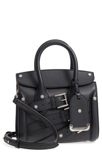 Heroine 21 Buckle Front Calfskin Leather Satchel by Alexander Mcqueen