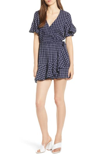 Glen Plaid Wrap Style Romper by Bp.