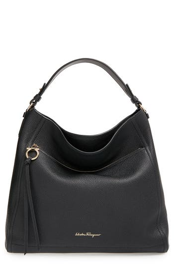Salvatore Ferragamo Pebbled Leather Hobo