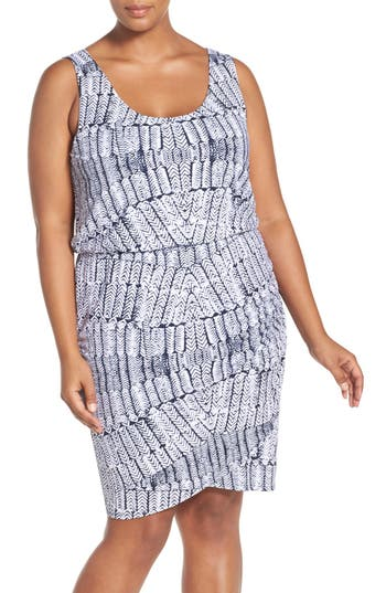 Tart Jan Print Jersey Sleeveless Blouson Dress (Plus Size)