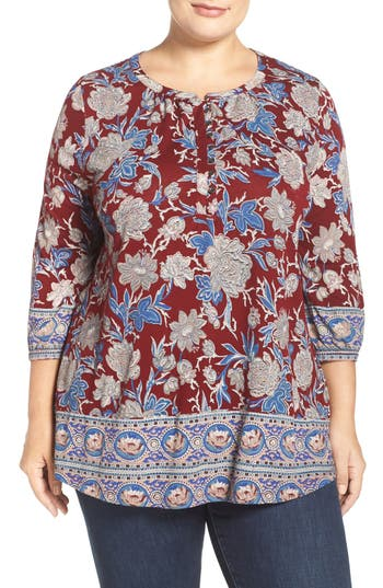 Lucky Brand Floral Border Print Top (Plus Size)