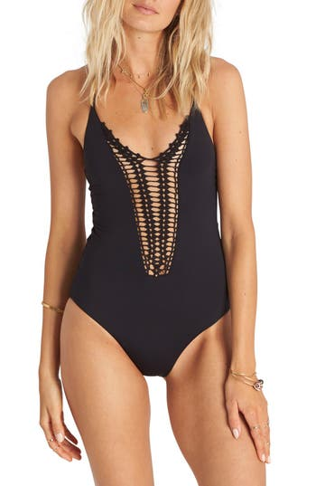 Billabong 'Hippie Hooray' Crochet One-Piece Swimsuit
