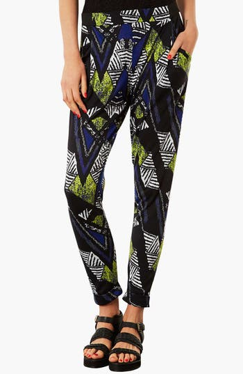Main Image - Topshop Chevron Print Tapered Trousers