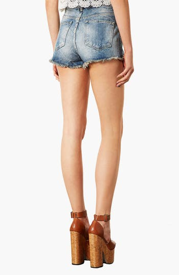 Alternate Image 2  - Topshop 'Waterless Ruthie' Destroyed Cutoff Denim Shorts (Mid Stone)