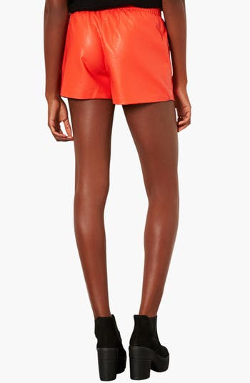 Alternate Image 2  - Topshop Perforated Faux Leather Shorts