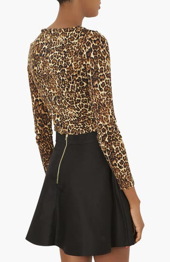 Alternate Image 2  - Topshop Leopard Print Jersey Top