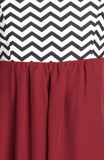 Alternate Image 3  - Trixxi Chevron Bodice High/Low Dress (Juniors) (Online Only)