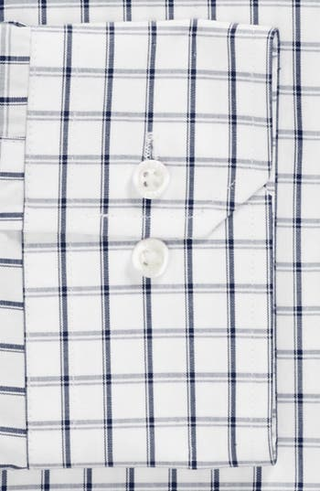 Trim Fit Check Dress Shirt,                             Alternate thumbnail 2, color,                             Blue
