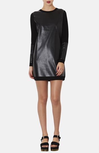 Main Image - Topshop Faux Leather Panel Sweater Dress