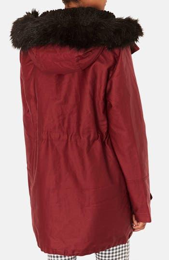 Alternate Image 2  - Topshop Faux Fur Trim Cotton Parka
