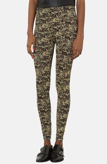 Alternate Image 1 Selected - Topshop Floral Glitter Leggings