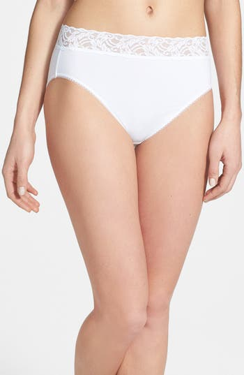 Wacoal 'Cotton Suede' Lace Trim High Cut Briefs (3 for $45)