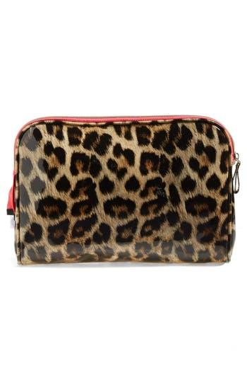 'Shiny Leopard' Large Cosmetics Case,                             Alternate thumbnail 2, color,                             No Color