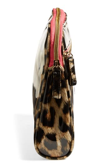 'Shiny Leopard' Large Cosmetics Case,                             Alternate thumbnail 3, color,                             No Color
