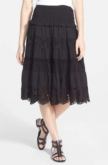 Michael Michael Kors Smocked Tiered Eyelet Cotton Midi