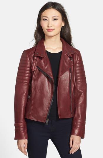 Nicole Miller Asymmetrical Lambskin Leather Moto Jacket