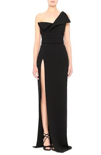 Belted Foldover Neck Gown with High Slit, video thumbnail