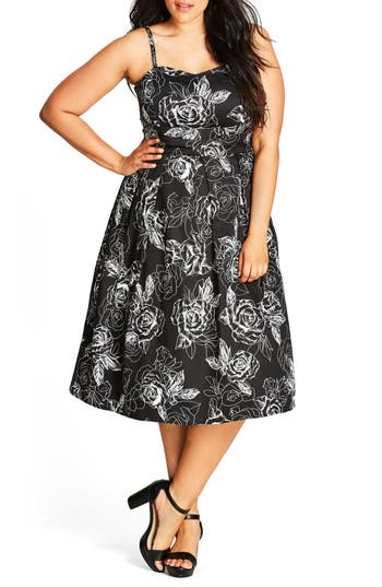 City Chic Mono Garden Fit & Flare Dress (Plus Size)