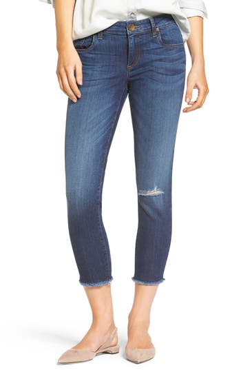 KUT from the Kloth Donna Ripped Crop Jeans (Peaceable) (Regular & Petite)