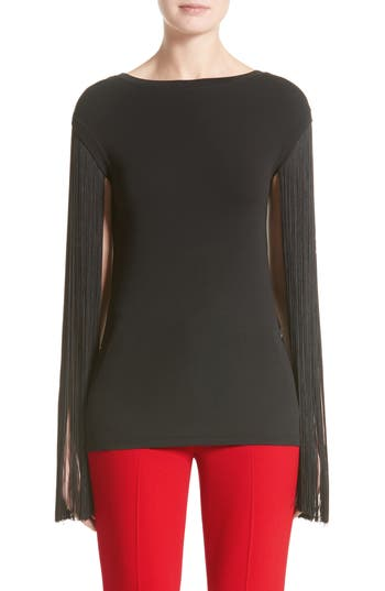 Michael Kors Fringed Stretch Matte Jersey Tee