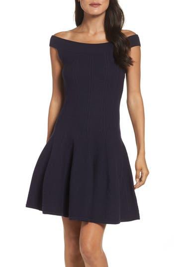 Eliza J Ribbed Fit & Flare Dress