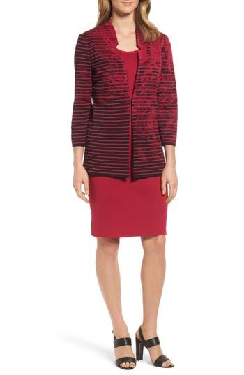 Ming Wang Ribbed Knit Long Jacket