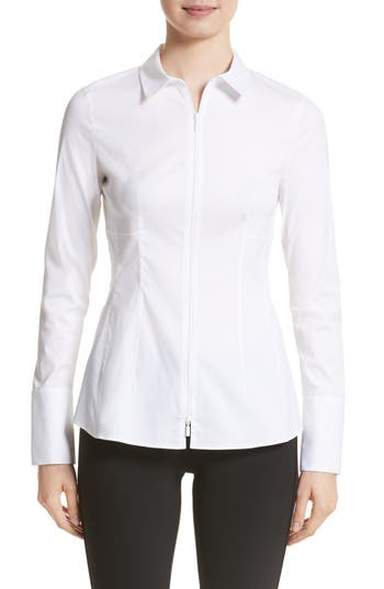 Lafayette 148 New York Kia Stretch Cotton Blouse