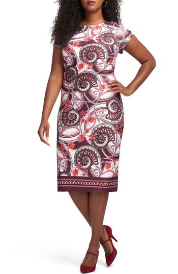 ECI Floral Paisley Sheath Dress (Plus Size)