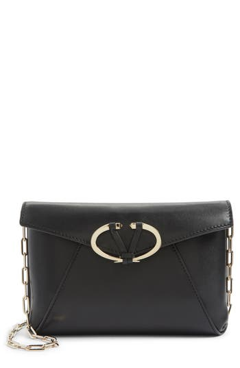 VALENTINO GARAVANI V-Clasp Calfskin Leather Envelope Clutch