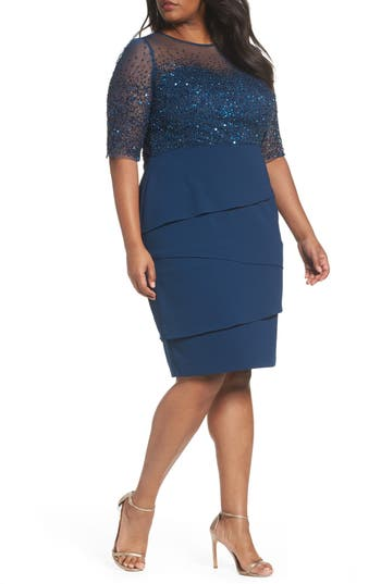 Adrianna Papell Beaded Bodice Sheath Dress (Plus Size)