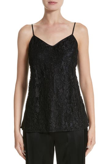 Lafayette 148 New York Tiffy Hand Beaded Lace & Charmeuse Blouse