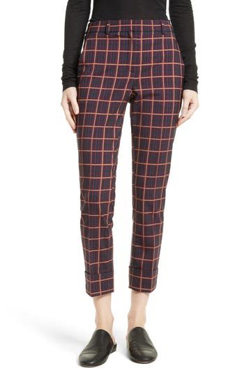 Theory York Plaid Cuffed Crop Pants