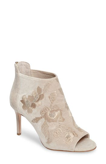 Imagine Vince Camuto Padget Embroidered Velvet Peeptoe Bootie (Women)