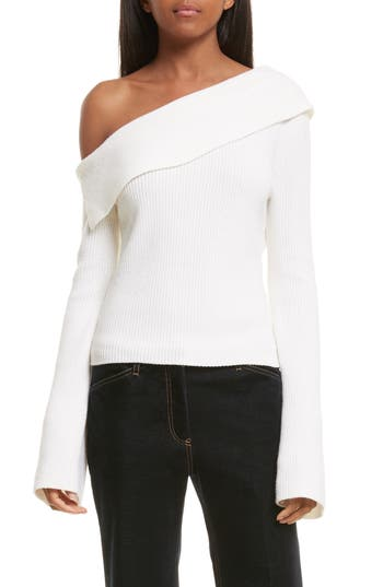 Theory One-Shoulder Foldover Sweater