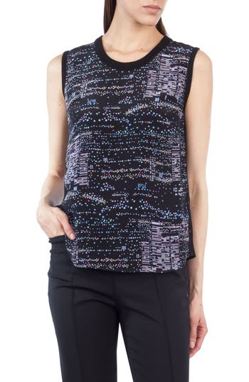 Akris punto Twilight Print Silk & Wool Top