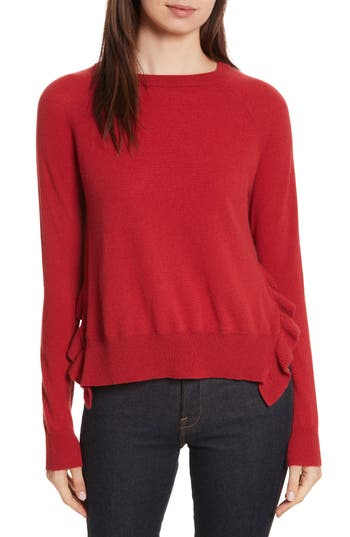 autumn cashmere Cashmere Side Ruffle Sweater