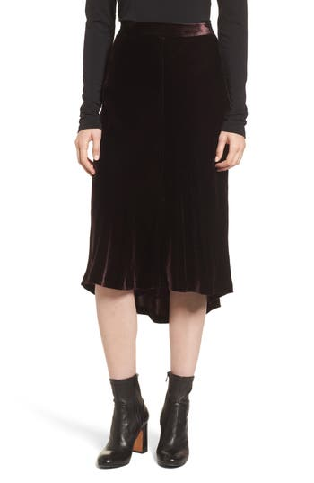Nordstrom Signature High/Low Velvet Skirt