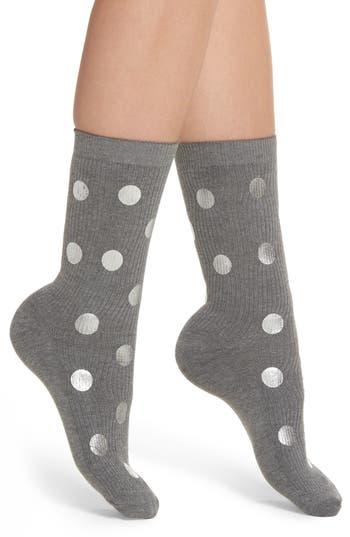 Nordstrom Foil Dot Ribbed Crew Socks