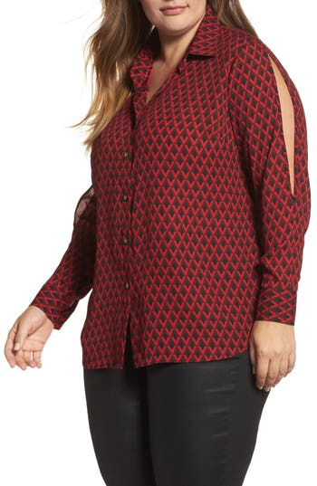 Vince Camuto Geo Print Split Sleeve Blouse (Plus Size)