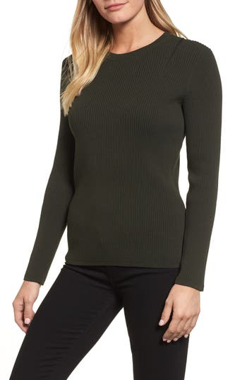 Kenneth Cole New York Zip Shoulder Ribbed Sweater
