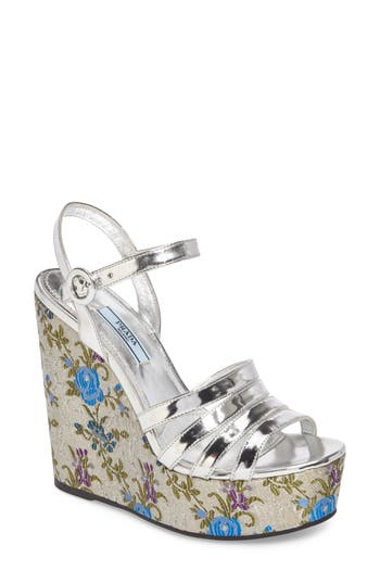 Prada Floral Wedge Platform Sandals (Women)