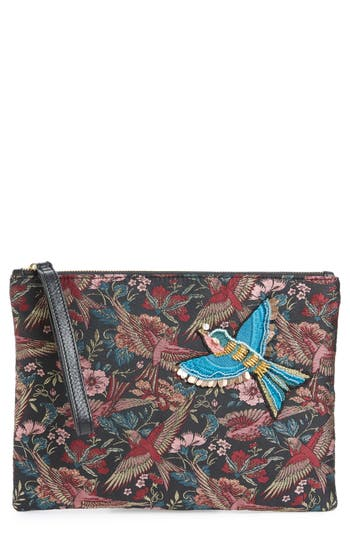 Sam Edelman Rhea Bird Brocade Top Zip Clutch