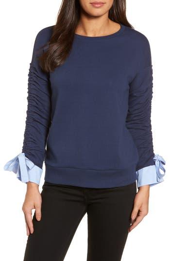 Halogen® Ruched Sleeve Poplin Trim Sweatshirt