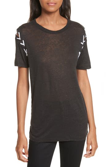 IRO Melly Lace-Up Linen Tee