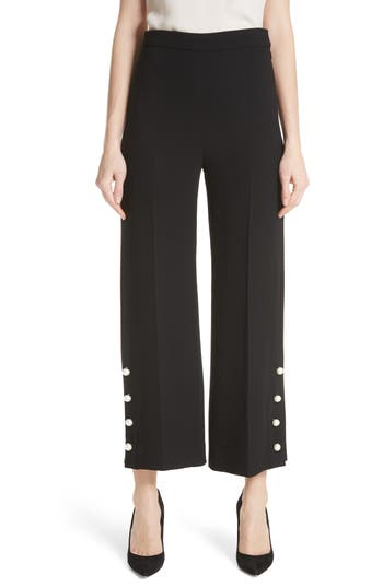 Pearly Button Crop Wool Blend Pants by Lela Rose