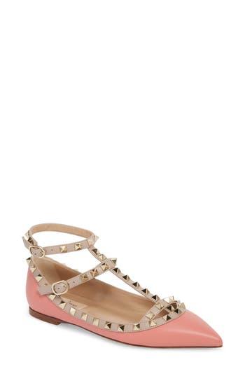 Garavani Rockstud Ankle Strap Pointy Toe Flat by Valentino