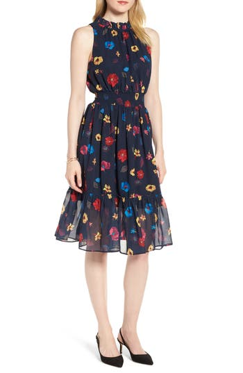 Floral Chiffon Fit & Flare Dress by 1901