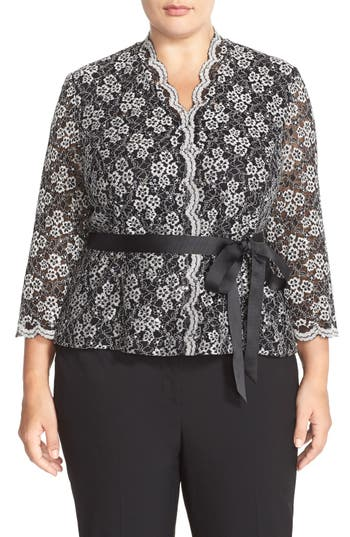 Alex Evenings Belted Sequin Lace Blouse (Plus Size)