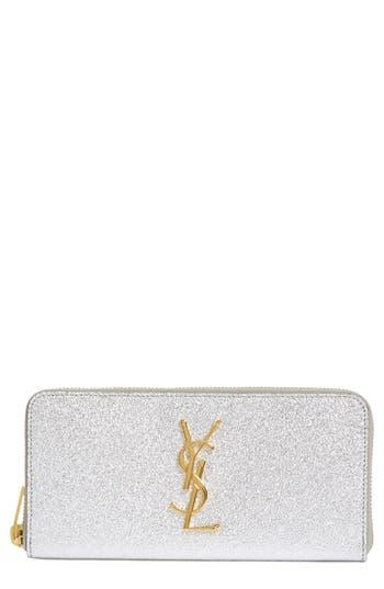 Saint Laurent 'Monogram - Metallic' Zip Around Leather Wallet